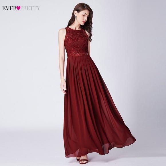 eb823ef29d9 Women s Chiffon Lace Long Burgundy Prom Dress 2019